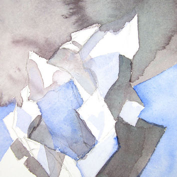 Geometric Art - Original Abstract Watercolour - Modern Wall Decor - Blue - Grey - 5 x 7