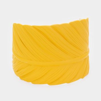 Matt Dramatic Yellow Leaf Cuff Bracelet