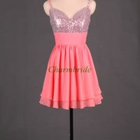 custom colors chiffon short prom dress with sequins stunning v neck homecoming dress unique v cute back gowns for homecoming party