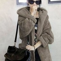 Keep Warmer Loose Bat-wing Coffee Coats : Wholesaleclothing4u.com