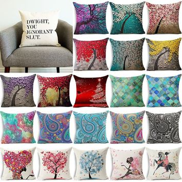 18*18 Home Living Fashion Square Flower Tree And Letter Printed Pattern Pillow Case Cushion Car Sofa Home Office Sofa Decor