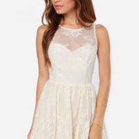 Leap of Lace Cream Lace Dress