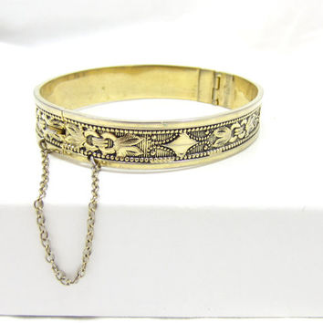 Gold Tone Metal Whiting and Davis Wide Repousse Chunky Bracelet Ornate Designer Signed Bangle Bracelet Victorian Revival Vintage Jewelry
