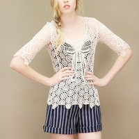 Embroidered lace top with large bow inset at front and back | shopcuffs.com