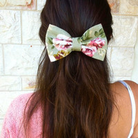floral BIG hair bow - roses hair bow - women hair bow - romantic hair bow