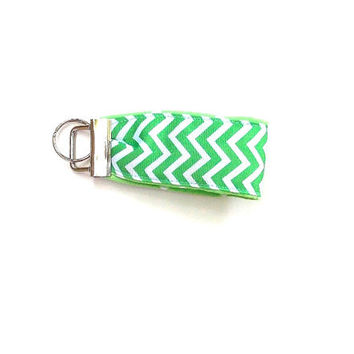 Key Chain, Green Chevron wristlet,  Key Fob on Green Polka Dot