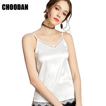 Satin Blouse Shirt Female Tank Top Lace Patchwork Sleeveless Shirt Casual Women Camisole Tank 2018 Summer V Neck Spaghetti Tops