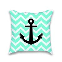 Turquoise Chevron Anchor Print Pillow