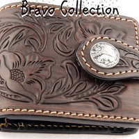 5CW-033 Finely Handmade New Carved Leather Skin Motorcycle Bikers Men Wallet.