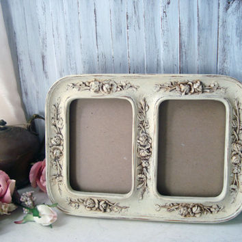 cream ornate double frame vintage 5x7 double frame with glass floral detailed frame