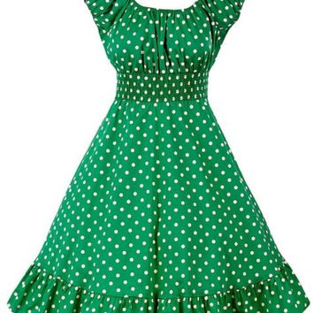 Green White Polka Dot Dress Peasant Boho 50''s Pinup Retro Vintage Style
