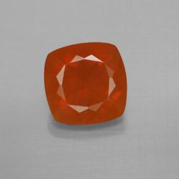 3.21 ct  Cushion-Cut Reddish Orange Fire Opal 10.2 x 10.1 mm