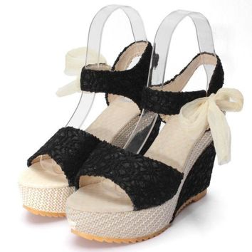 POS DR KL READY STOCK WOMEN WEDGES LACE RIBBON High-heeled Shoes