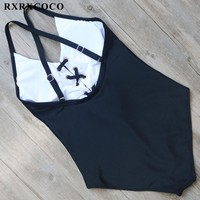 RXRXCOCO Solid One Pieces Swimsuit Women Sexy Halter Bandage Swimwear Adjustable Swimming Suit Padded Monokini Bathing Suit