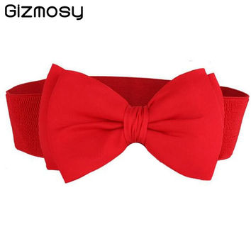 Women Girls Belt Lace Bowknot Cummerbunds Elastic Bow Wide Stretch Waistband Waist Belt 9 Colors BN891