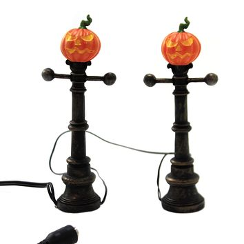 Department 56 Accessory HALLOWEEN STREET LAMPS Polyresin Jack-O-Lantern 6003301