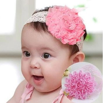 31 Colors Lovely Kids Princess Style Oversized Flower Bow Lace Headband Headwear Hair Wide Band Girl child A006