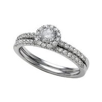Round Diamonds Wedding Engagement Ring Set IGI Certified 14k Size 6.5 (0.63 cttw, H-I Color, I2 Clarity)