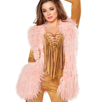 Vintage Rose Dust Faux Fur Rave Vest