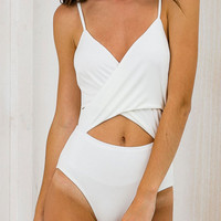 White V-neck Wrap Cut Out Front Cami Bodysuit