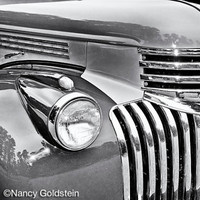 Photo, Chevy, vintage restored classic antique auto, polished chrome grill, lamp on fender, man cave, den, gift for him, fine art print
