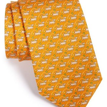 Men's Salvatore Ferragamo Dog Print Silk Tie
