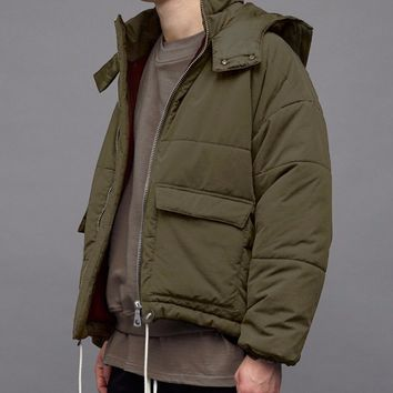 Padded Drawstring Hooded Military Inspired Waist length Coat