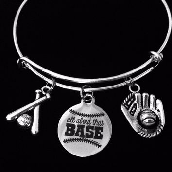 Baseball Charm Bracelet It's All About That Base Silver Expandable Adjustable Bangle Trendy One Size Fits All Gift Baseball Bat