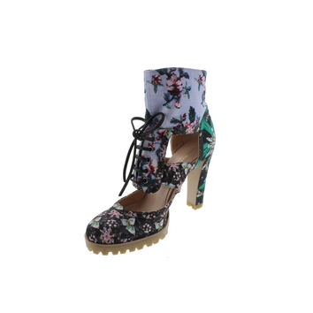Mary Katrantzou / Gianvito Rossi Womens Floral Print Lug Sole Casual Boots