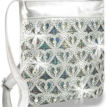 * Rhinestone Heart Design Iridescent Layered Cross Body Sling In Silver
