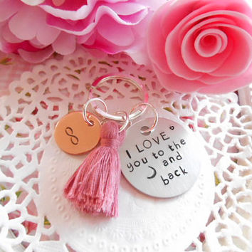Keychain Copper And Aluminium Tags I Love You To The Moon And Back Personalised Customized