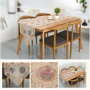 JUYANG. Embroidery Crafts Pastoral Style Small Flower Patterns Table Runner. Water soluble lace decorative tablecloth. 2 colors.