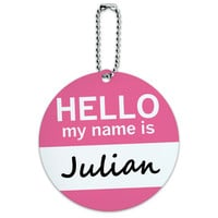 Julian Hello My Name Is Round ID Card Luggage Tag