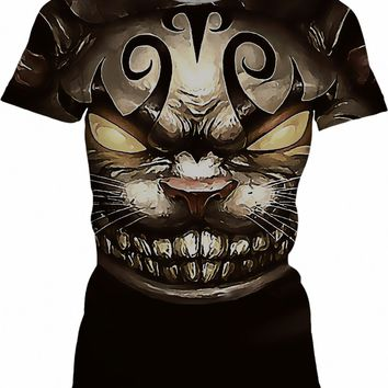 Follow the white rabbit Alice ;) Cheshire cat reimagined, womens fit t-shirt