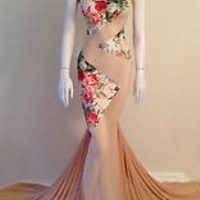 Full length mesh gown with lining, floral patterns, mesh/suede blend