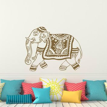 Indian Elephant Wall Decal Stickers Yoga Wall Decal Bedroom Dorm Nursery Boho Bedding Home Decor Interior Design A080