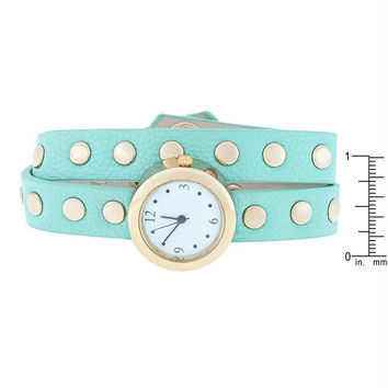 Mint Round Studded Wrap Watch