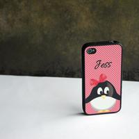LAST MINUTE GIFT Penguin + Pink Polka Dots Monogram Personalized Custom iPhone Case