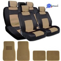 New YupBizauto Brand Sleek and Elegant Design Universal Size Mesh and Synthetic Leather Car Seat Covers Set Complete Front and Rear Covers with 4 Tan Color Carpet Floor Mats Black and Beige Color
