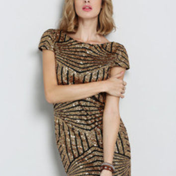 Gold Sequins New Years Eve Holiday Event Dress