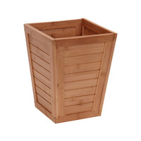 Household Essentials Bamboo Slatted Trash Can