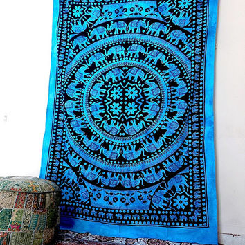 indian blue elephant mandala tapestry hippie wall hanging bohemian boho mandala bedding bedspread throw twin ethnic decorative art