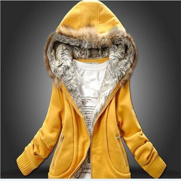 Manufacture Supply Women winter Plus Large Fur Collar Hooded Sweater,Casaco Women Clothing = 1931647108