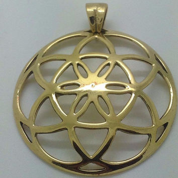 "Convex Seed Of Life Pendant Brass metal Flower of life 1.5"" sacred geometry"