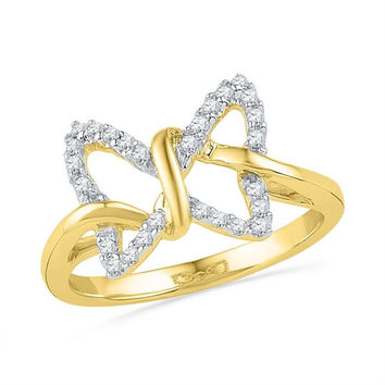 10k Yellow Gold Diamond Womens Butterfly Bug Fine Daily-wear Right-hand Ring 1/6 Cttw