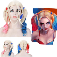 Harley Quinn Wig Synthetic Hair Curly Pink Blue For Halloween 41cm