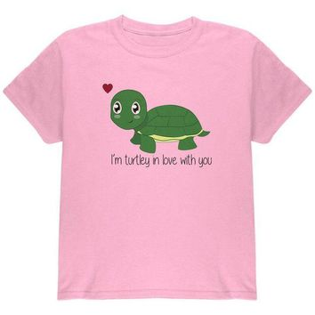 DCCKJY1 Turtle I'm Totally In Love With You Funny Pun Valentine's Day Youth T Shirt