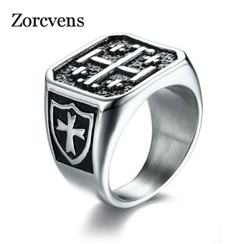 ZORCVENS Punk The Cross of Jerusalem Men Ring Shield Pattern Male Hip-hop Cool High Quality Stainless Steel Jewelry