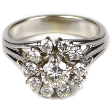 Fine Jewelry 14K WHITE GOLD DIAMOND COCKTAIL RING - 0.5 CARATS - SIZE 5.25 5 1/4 FLOWER