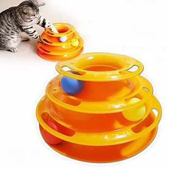 Pet Toy Games Funny Interactive Trilaminar Disk Plate Ball Cat Kitten Play Teaser